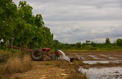 Tractor pump. In rice field in Thailand Royalty Free Stock Photography