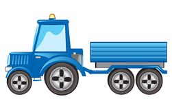 Tractor with pushcart Stock Image