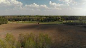 Tractor que ara el campo, fotograf?a a?rea en el quadcopter almacen de video