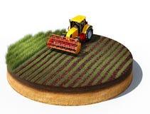 Tractor que prepara la tierra para sembrar stock de ilustración
