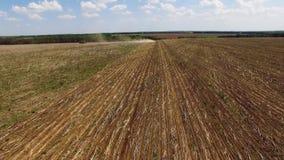 Tractor que prepara la tierra para sembrar diecis?is filas a?reas, el concepto de cultivo, siembra, arando el campo, el tractor y almacen de video