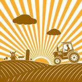 Tractor que trabaja en el campo ilustración del vector
