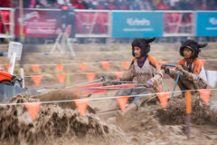 Tractor racer racing in Kubota mud track Royalty Free Stock Photo