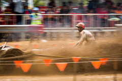 Tractor racer racing in Kubota mud track Stock Images