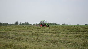 Tractor rake turn hay Stock Photo