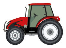 Tractor. Red tractor a side view on white background royalty free illustration