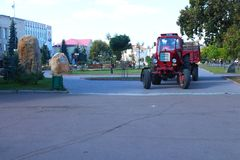Tractor  Removes garbage. On the street of Boryspil city Royalty Free Stock Images