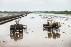 Tractor in rice field Stock Images