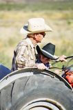Tractor Ride for a little boy and Grandfather Royalty Free Stock Image