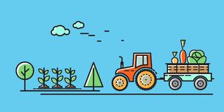 Tractor rides on the road in the countryside. Vector illustration in flat style.  royalty free illustration