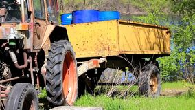 Tractor rises on the embankment stock video