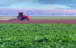 Tractor rojo que trabaja en campo agrícola del thre Foto de archivo libre de regalías