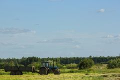 Tractor running in the field against a blue sky background Stock Photography
