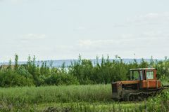 Tractor running in the field against a blue sky background Stock Images
