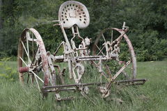 Vintage White Tractor in NY stock images