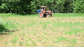 Tractor seed sow field stock footage
