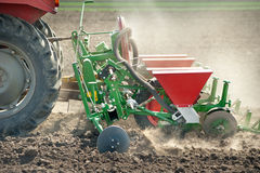 Tractor and seeder Royalty Free Stock Photos