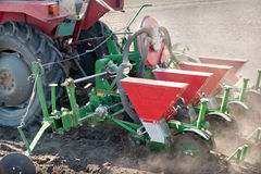 Tractor and seeder Stock Photography