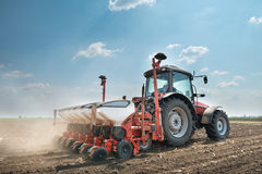 Tractor and seeder Royalty Free Stock Photography