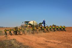Tractor Seeding Royalty Free Stock Photo