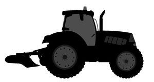Tractor silhouette on a white background. Stock Photography