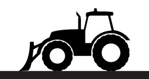Tractor silhouette on a white background. Royalty Free Stock Photos