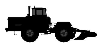 Tractor silhouette on a white background. Stock Photos