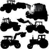 Tractor silhouettes. Set of  silhouettes of tractor and combine Stock Photography
