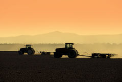 Tractor Silhouettes Royalty Free Stock Photos