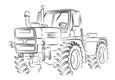 Tractor Sketch. Royalty Free Stock Photography