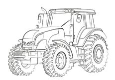 Tractor Sketch. The Sketch of a big heavy tractor Royalty Free Stock Photo
