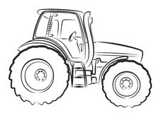 Tractor Sketch. Royalty Free Stock Photo