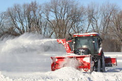 Tractor snow blower Royalty Free Stock Photo