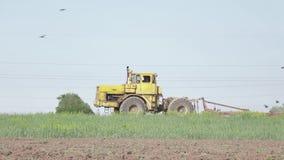 Tractor soviético viejo que trabaja en el campo 4K Perfil plano del pikture metrajes