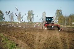 Tractor sowing field Royalty Free Stock Photo