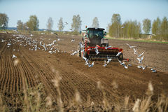 Tractor sowing field Royalty Free Stock Image