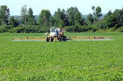 Tractor spaying pesticide Royalty Free Stock Photos