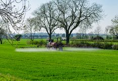Tractor spraying cereal field Stock Images