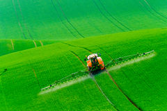Tractor spraying the chemicals Stock Image