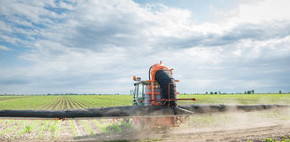 Tractor spraying Royalty Free Stock Image