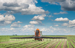 Tractor spraying a crop field Stock Images