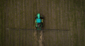 The tractor spraying the field with chemicals in the spring Royalty Free Stock Photography