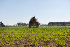 Tractor spraying field. Tractor pesticide fungicide insecticide sprayer Stock Photos
