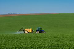 Tractor spraying pesticide in a field of wheat stock photography