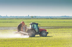 Tractor spraying Stock Photography