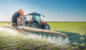 Tractor spraying pesticides stock photo