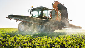 Tractor spraying pesticides Stock Images