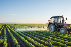 Tractor spraying Stock Images