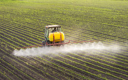 Tractor spraying soybean Stock Images