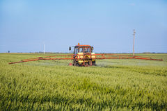 Tractor spraying wheat field with sprayer Stock Image